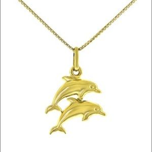 Jewelry - 10K double dolphin pendant necklace new never worn
